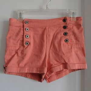 Coral high waisted multi button shorts